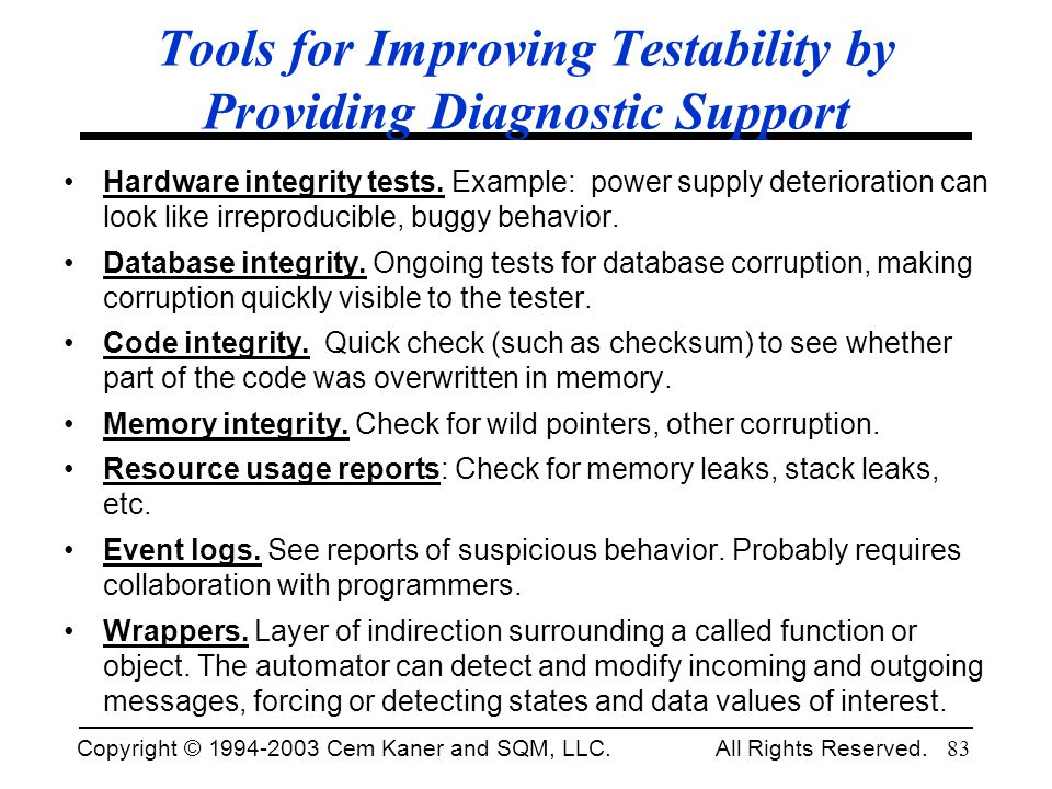Tools for Improving Testability by Providing Diagnostic Support