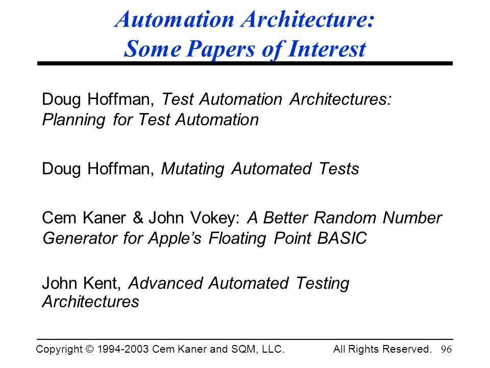 Automation Architecture: Some Papers of Interest