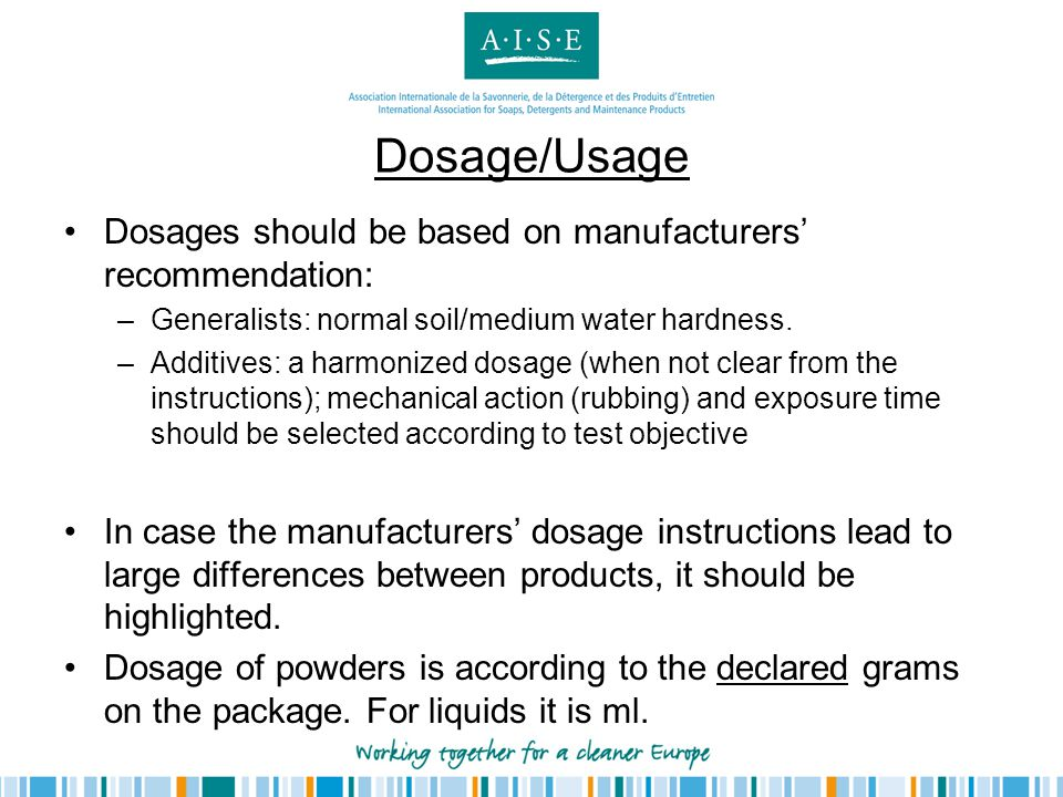 Dosage/Usage Dosages should be based on manufacturers' recommendation: