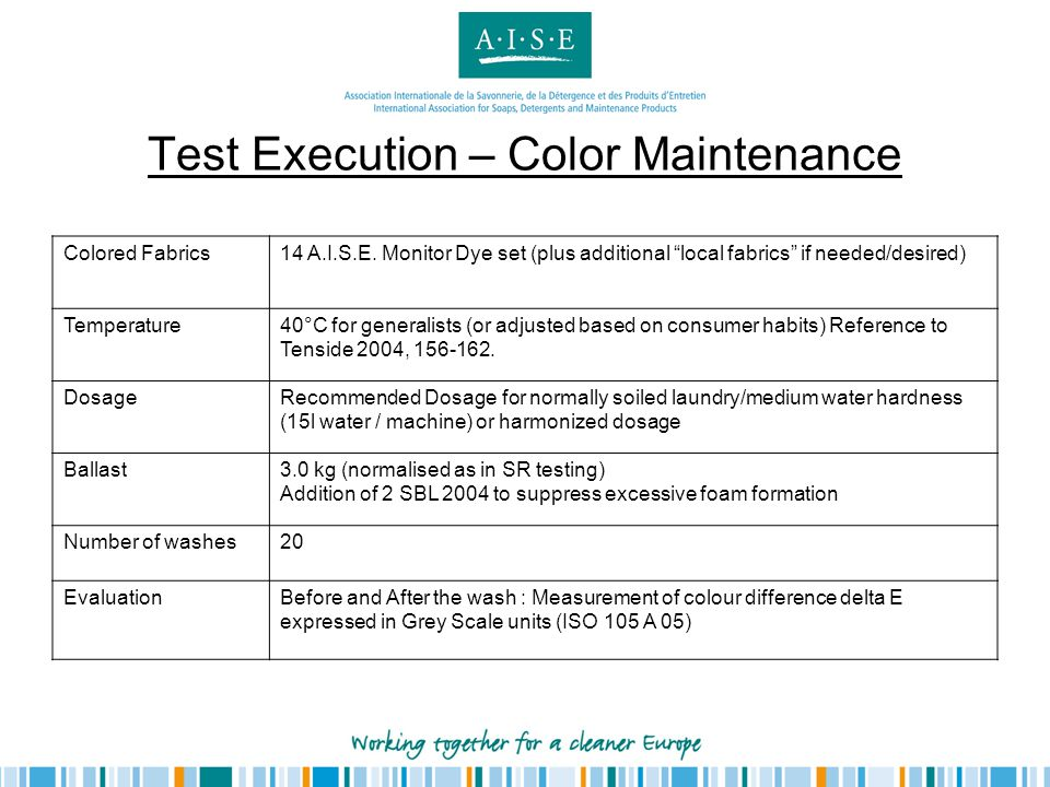 Test Execution – Color Maintenance