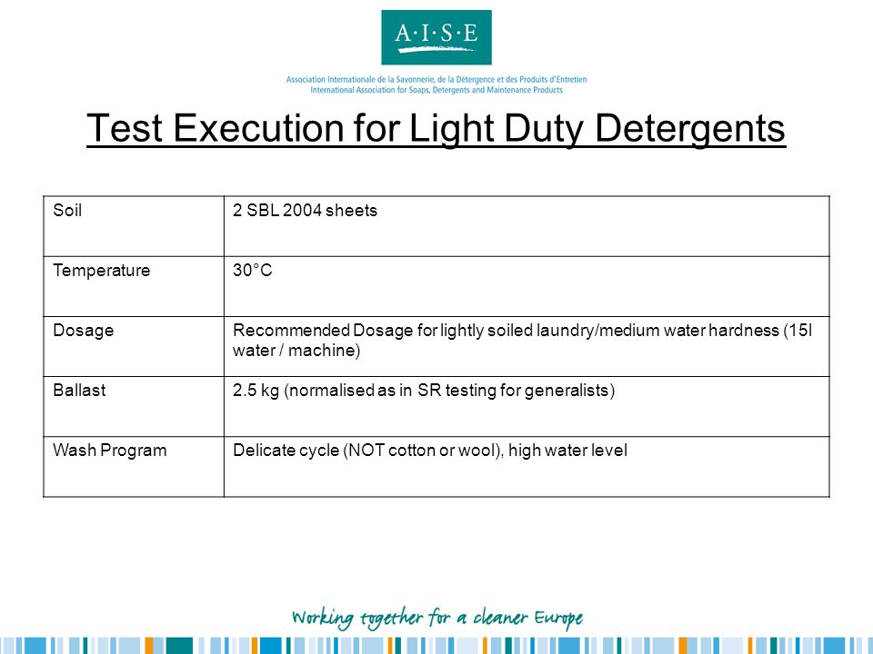 Test Execution for Light Duty Detergents