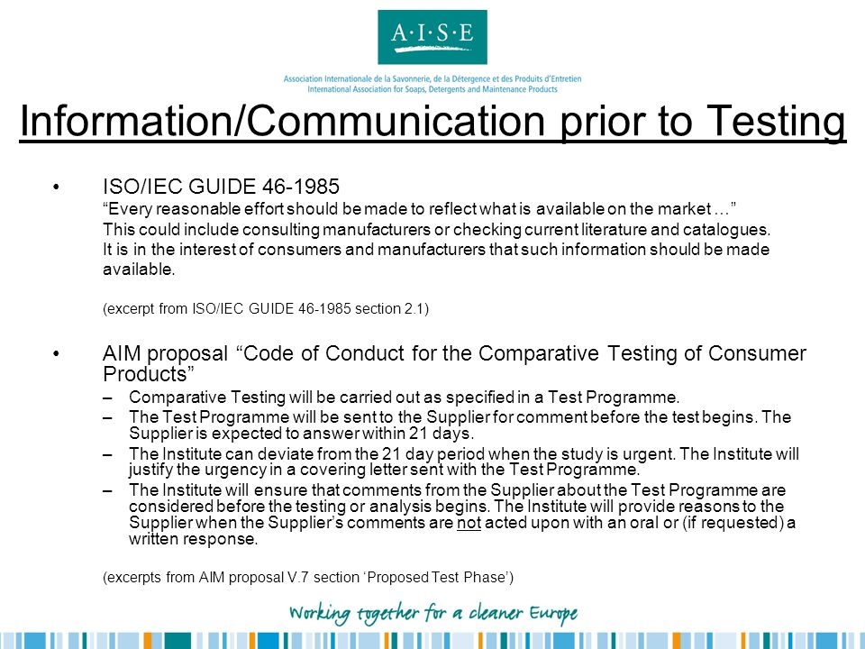 Information/Communication prior to Testing