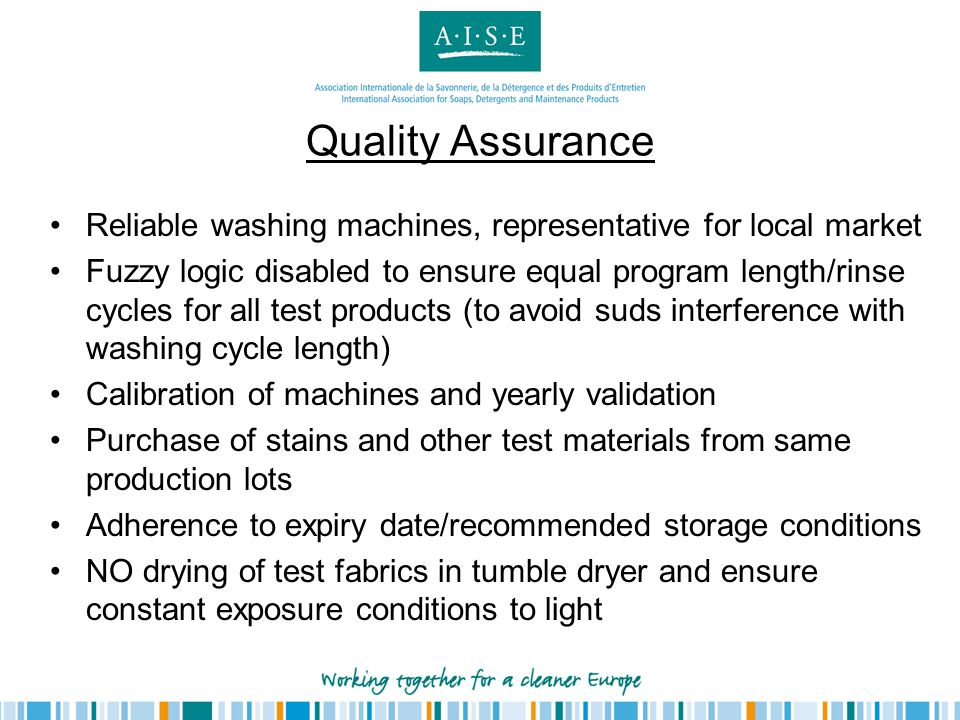 Quality Assurance Reliable washing machines, representative for local market.