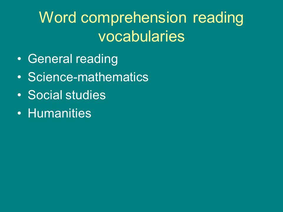 Word comprehension reading vocabularies