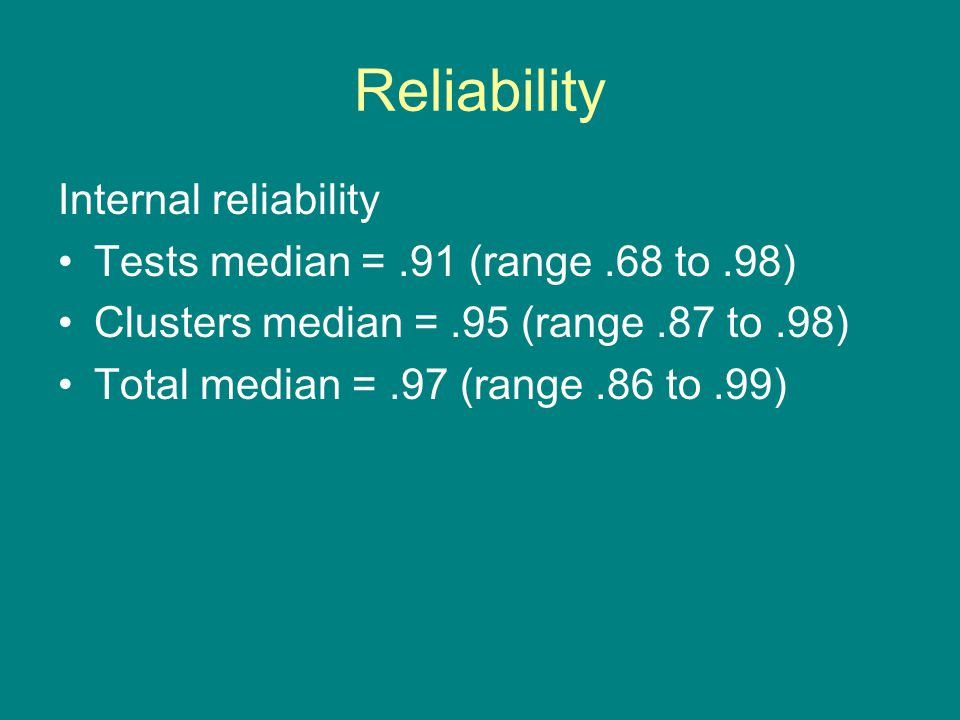 Reliability Internal reliability Tests median = .91 (range .68 to .98)