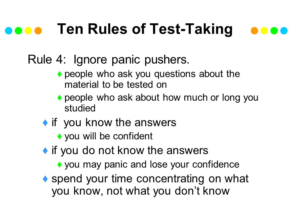 Ten Rules of Test-Taking