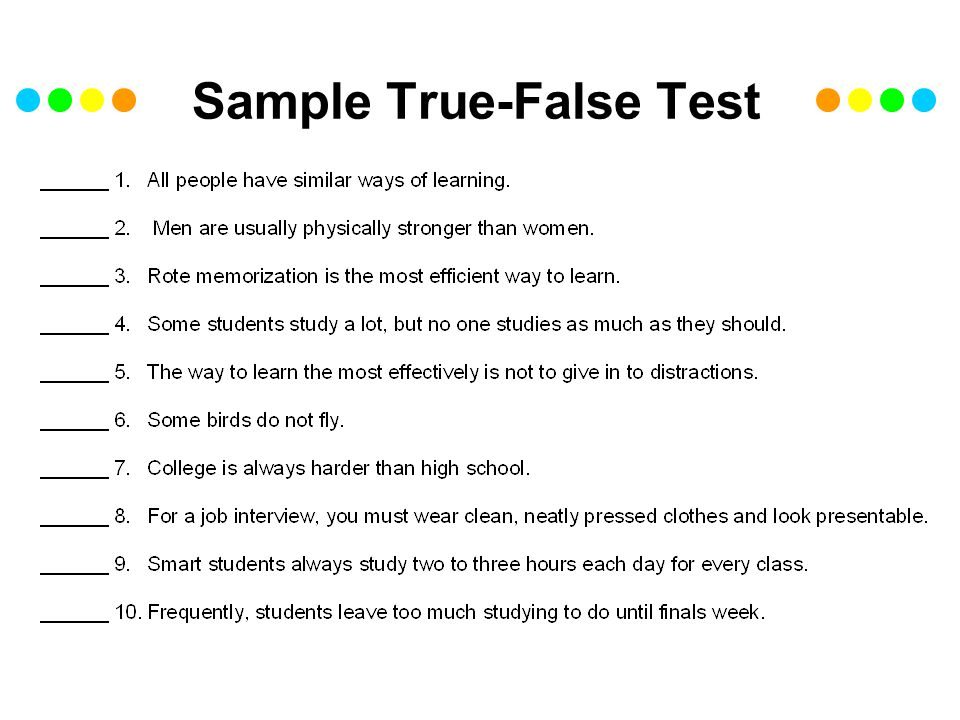 Sample True-False Test