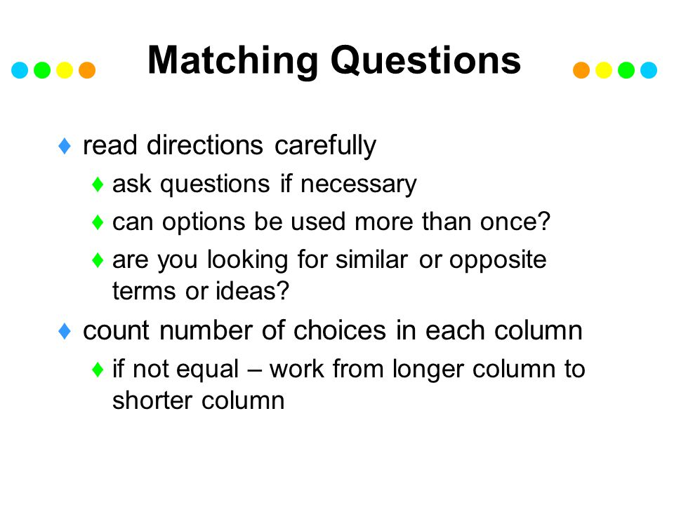 Matching Questions read directions carefully