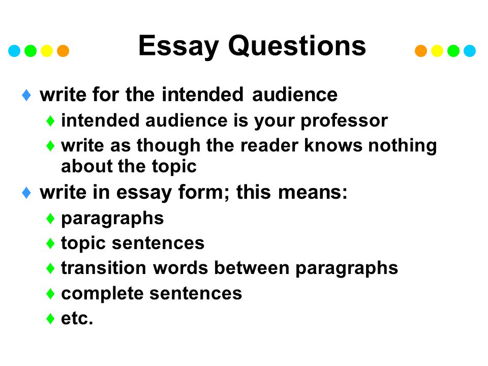 Essay Questions write for the intended audience