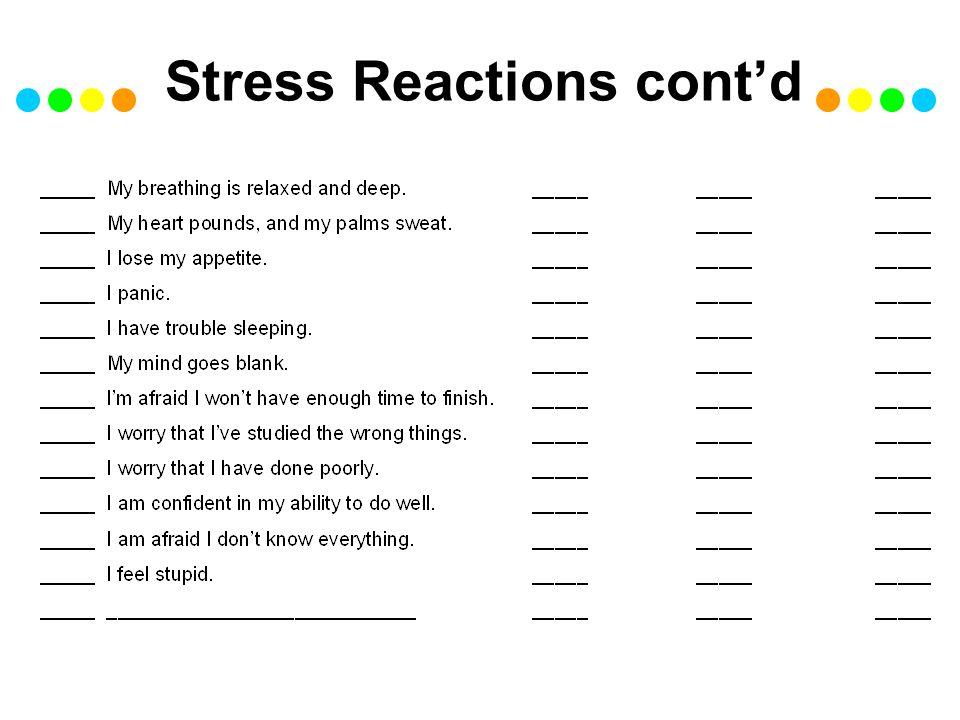 Stress Reactions cont'd