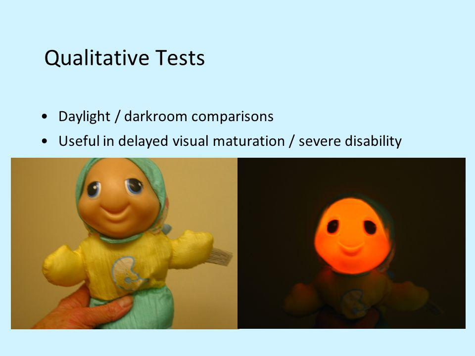 Qualitative Tests Daylight / darkroom comparisons