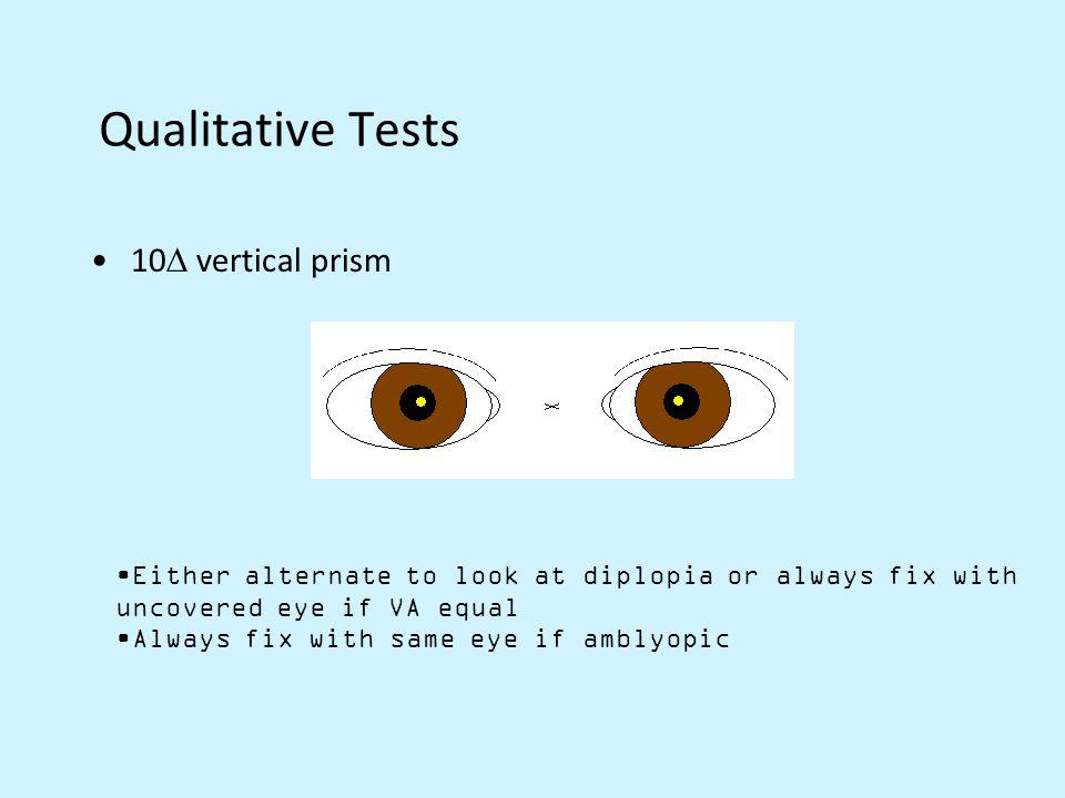 Qualitative Tests 10 vertical prism