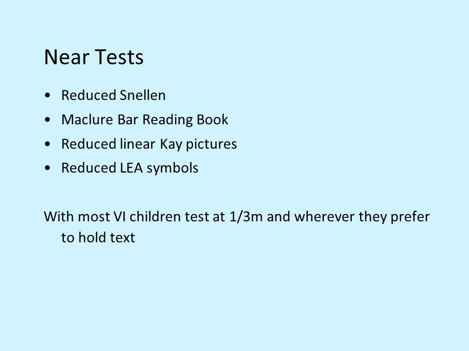 Near Tests Reduced Snellen Maclure Bar Reading Book