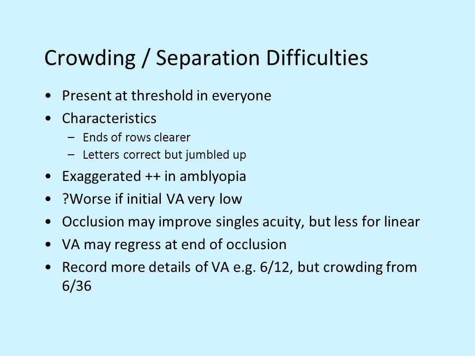 Crowding / Separation Difficulties