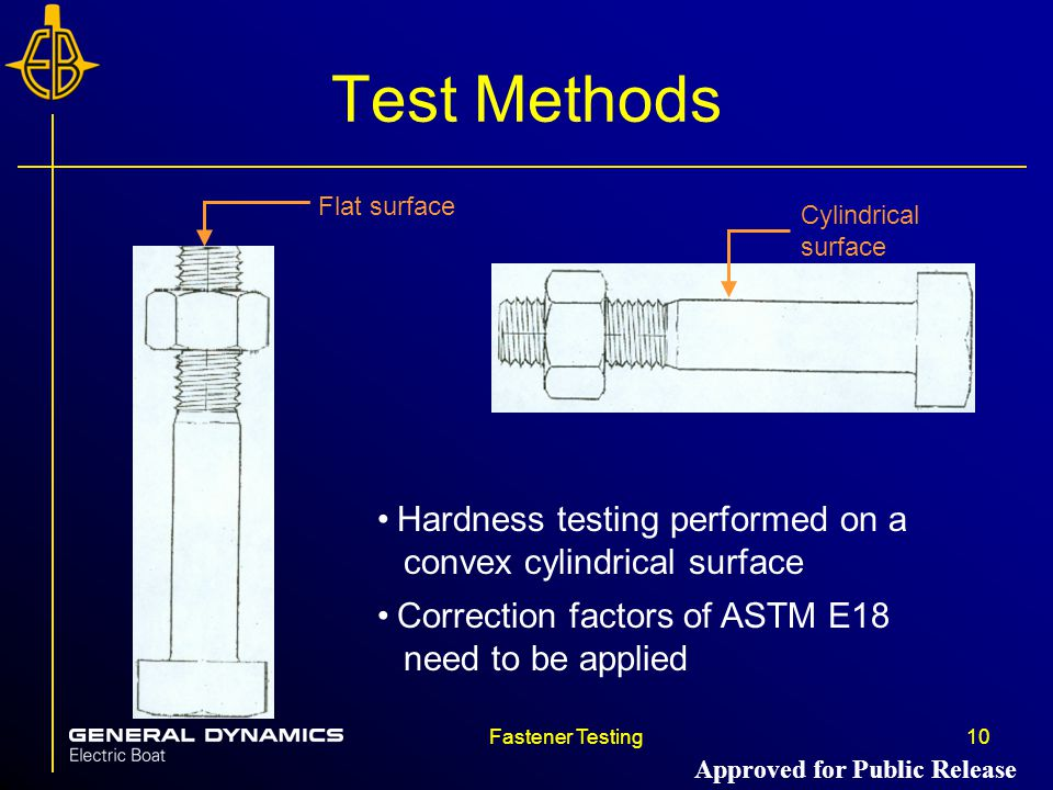 Test Methods Flat surface. Cylindrical surface. Hardness testing performed on a convex cylindrical surface.