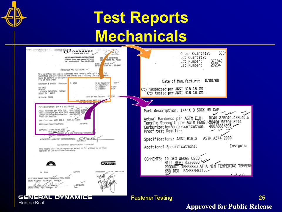 Test Reports Mechanicals