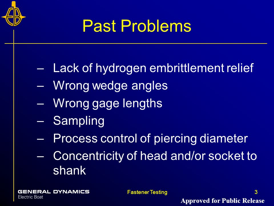 Past Problems Lack of hydrogen embrittlement relief Wrong wedge angles