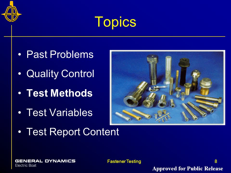 Topics Past Problems Quality Control Test Methods Test Variables