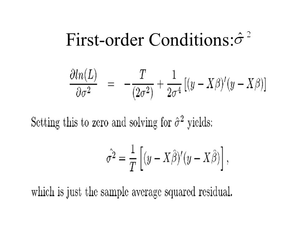 First-order Conditions: