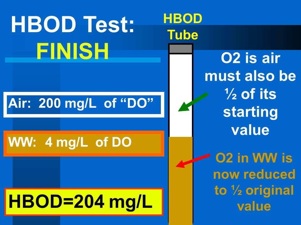 HBOD Test: FINISH HBOD=204 mg/L