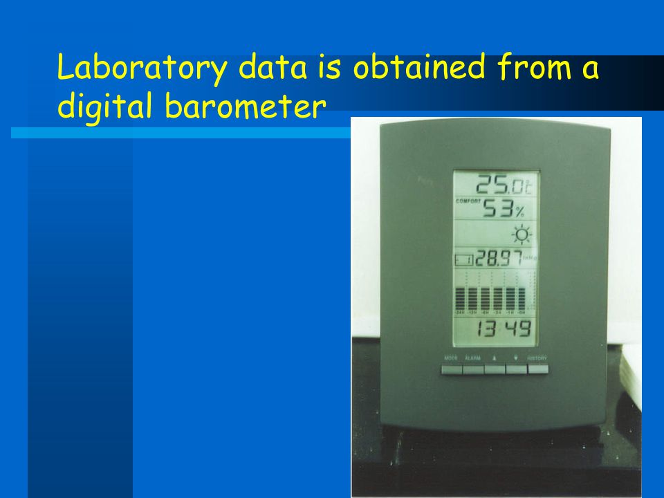 Laboratory data is obtained from a digital barometer