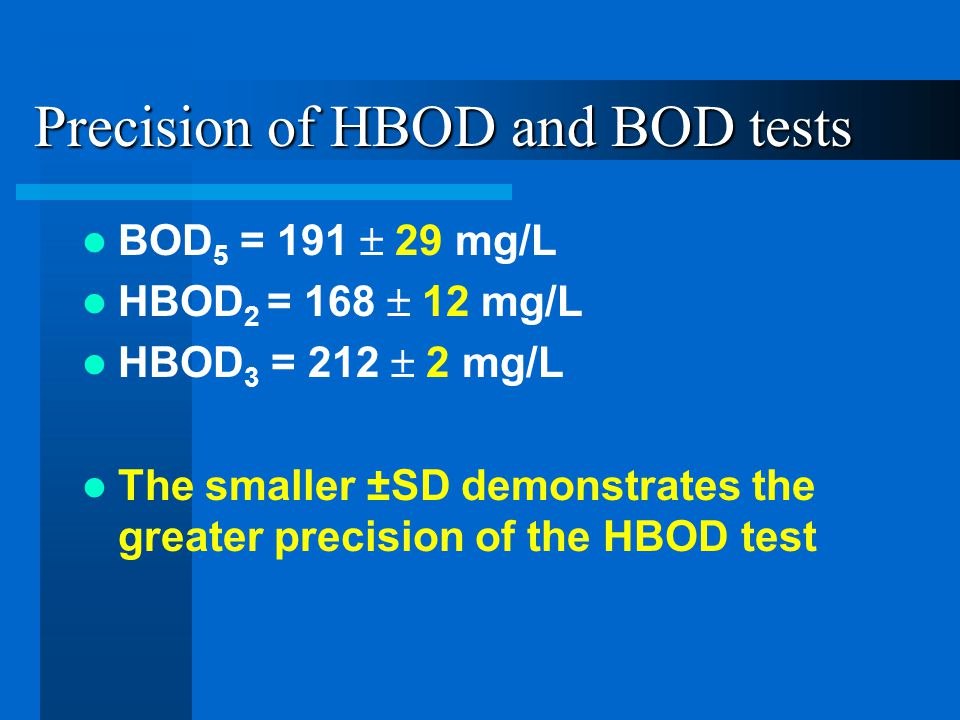 Precision of HBOD and BOD tests