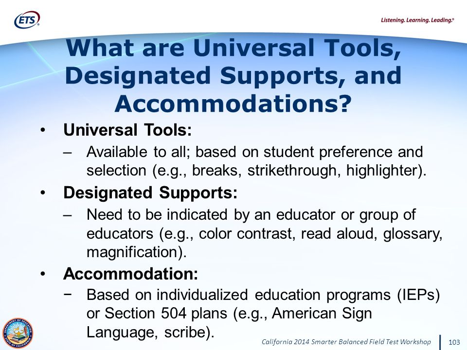 What are Universal Tools, Designated Supports, and Accommodations