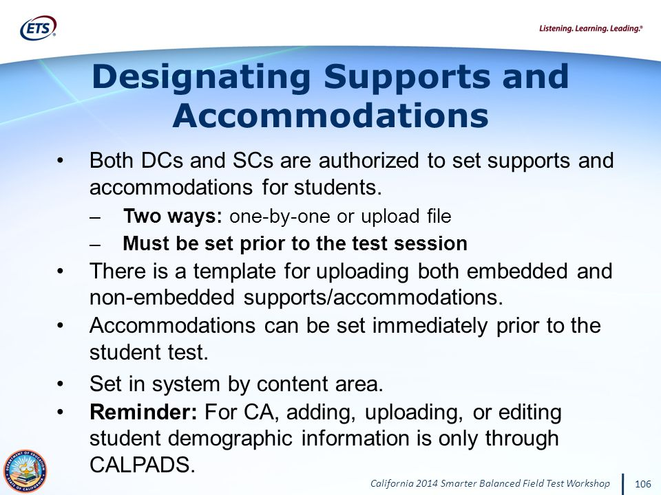 Designating Supports and Accommodations