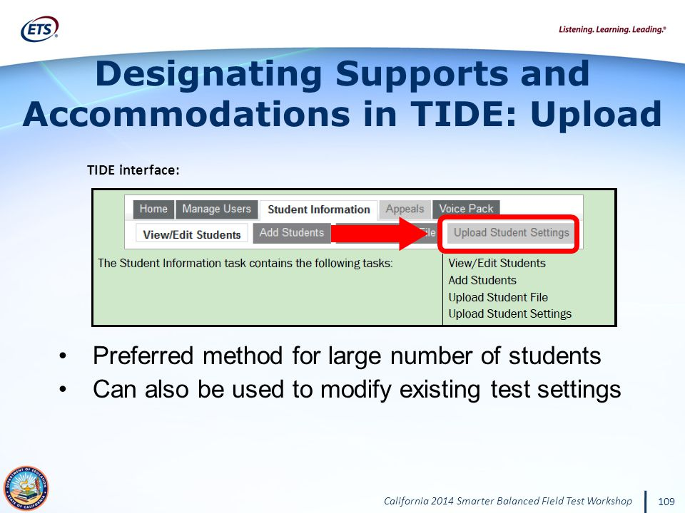 Designating Supports and Accommodations in TIDE: Upload
