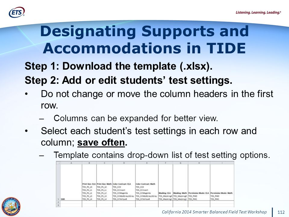 Designating Supports and Accommodations in TIDE