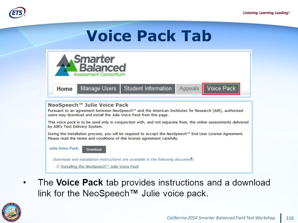Voice Pack Tab The Voice Pack tab provides instructions and a download link for the NeoSpeech™ Julie voice pack.