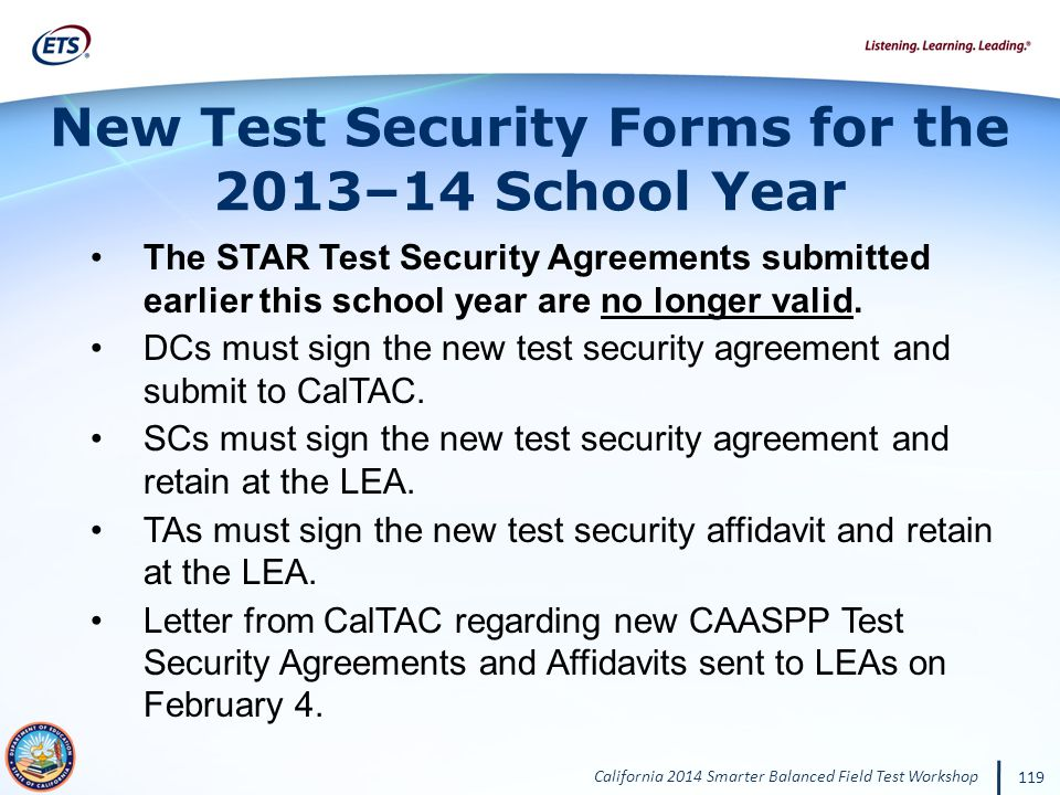 New Test Security Forms for the 2013–14 School Year