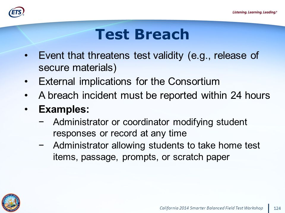 Test Breach Event that threatens test validity (e.g., release of secure materials) External implications for the Consortium.