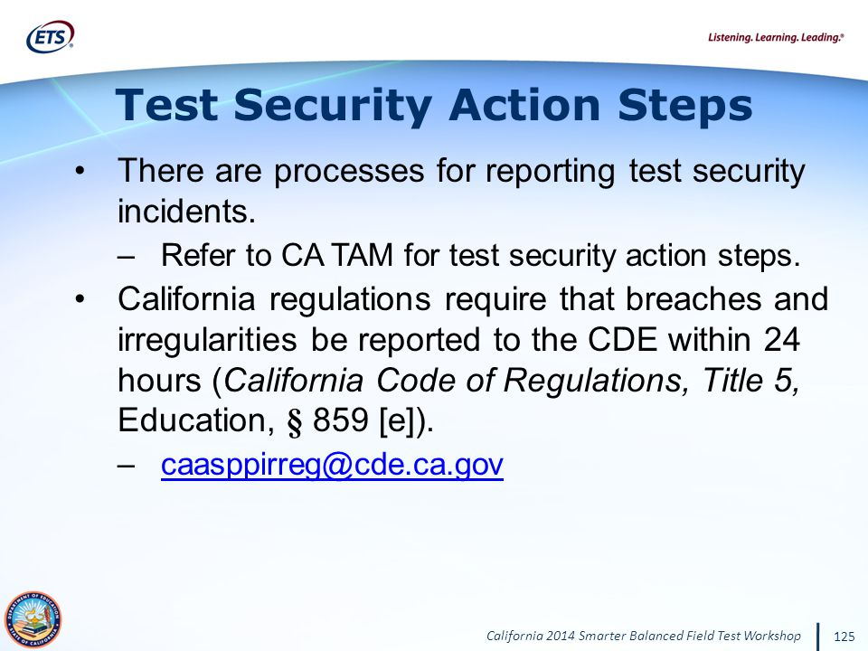 Test Security Action Steps