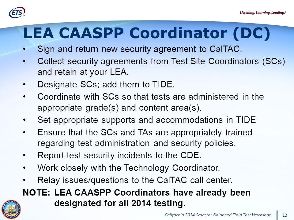 LEA CAASPP Coordinator (DC)