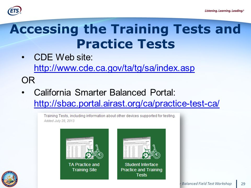 Accessing the Training Tests and Practice Tests