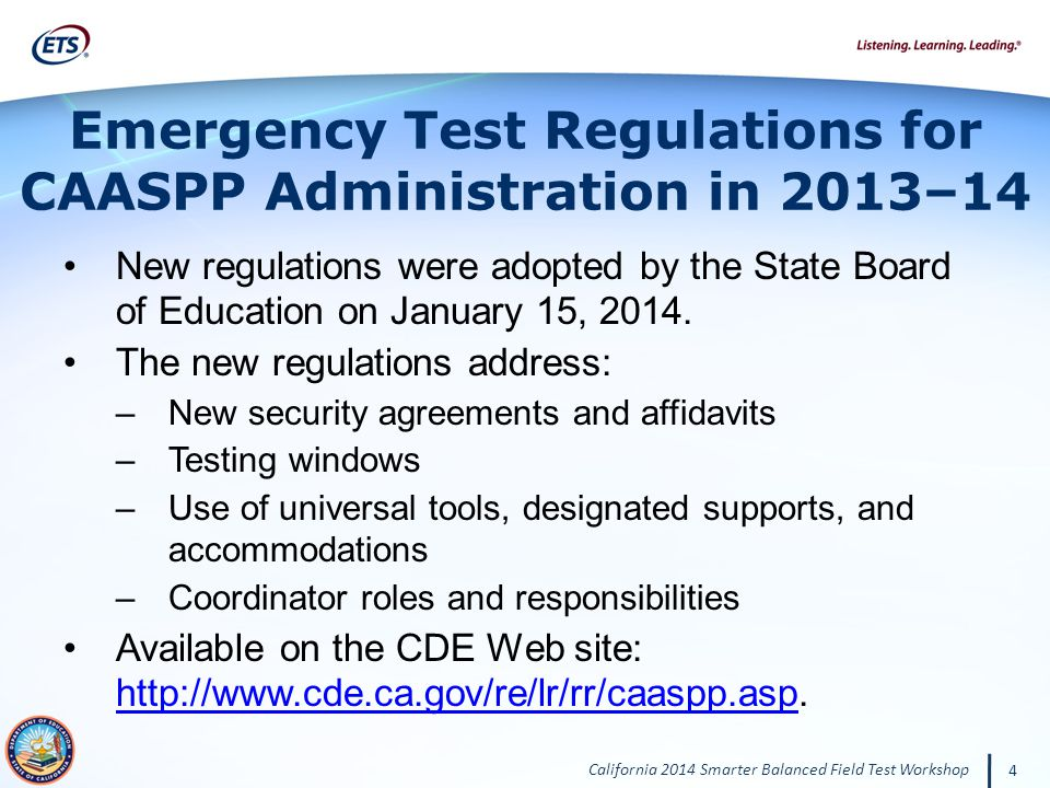 Emergency Test Regulations for CAASPP Administration in 2013–14