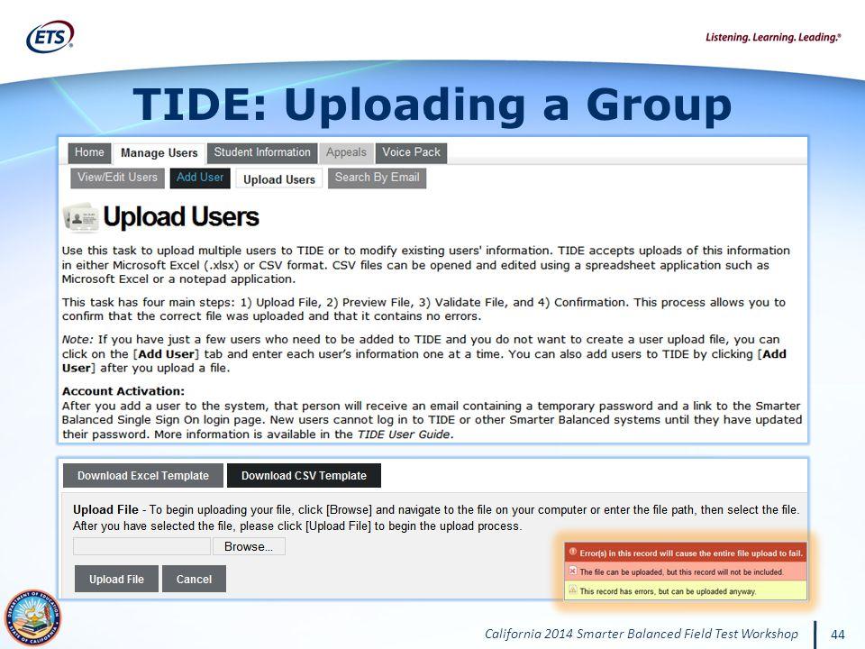 TIDE: Uploading a Group