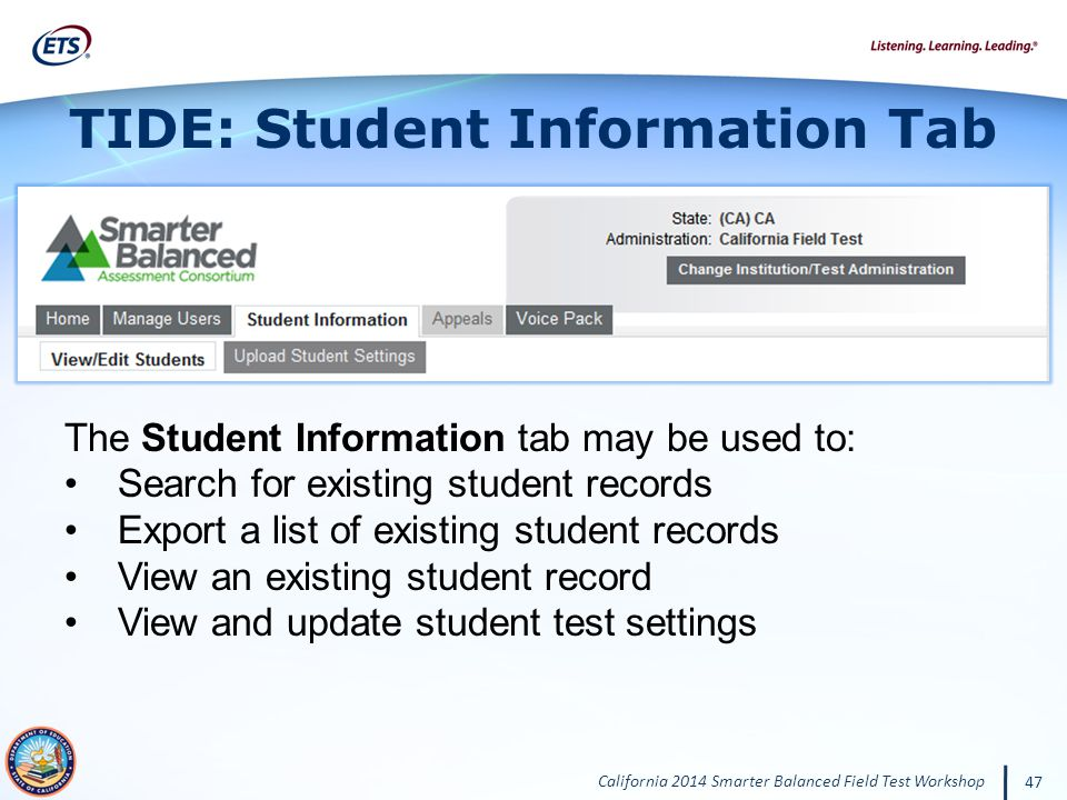 TIDE: Student Information Tab