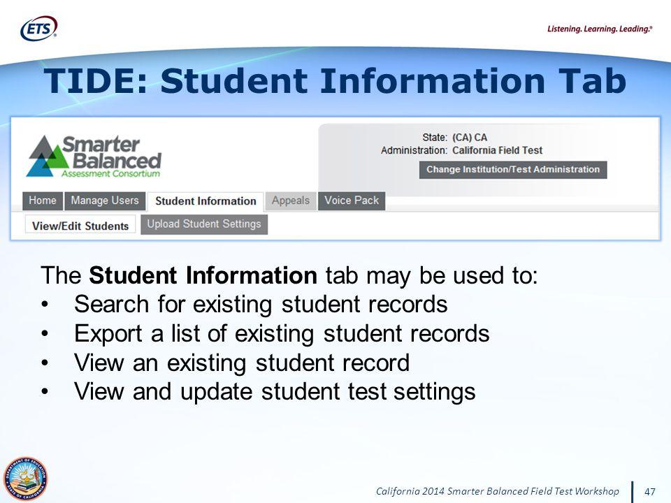 TIDE: Student Information Tab