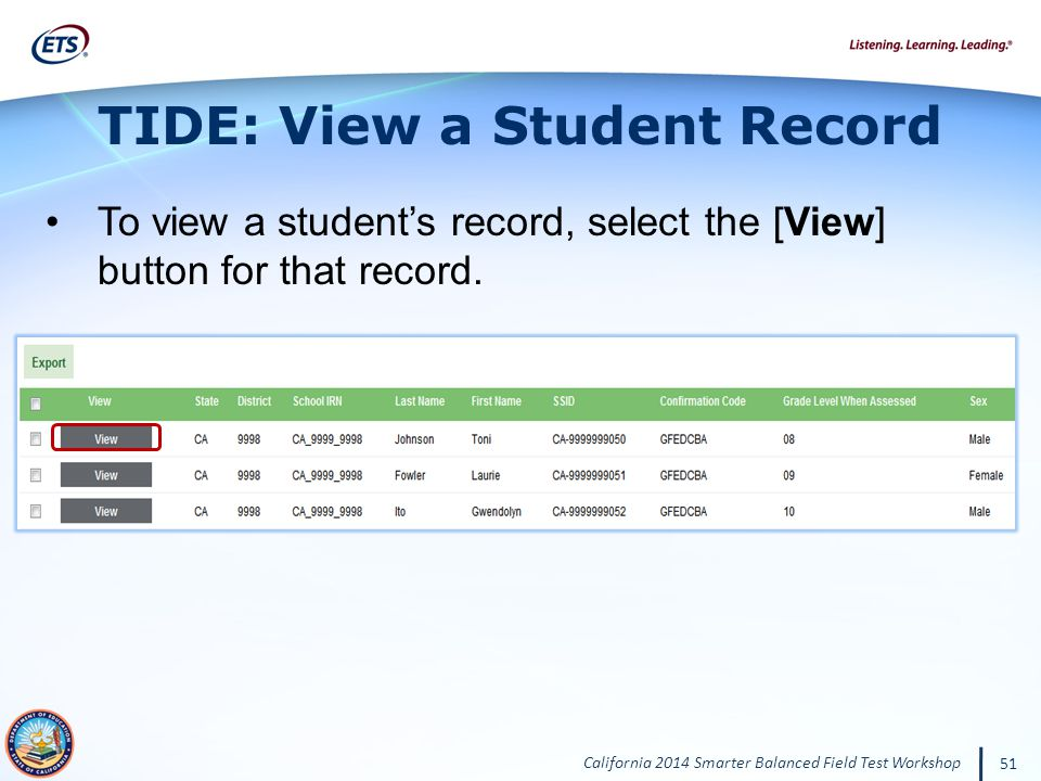 TIDE: View a Student Record