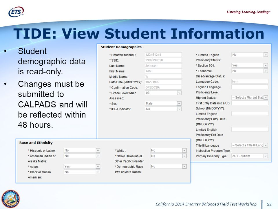 TIDE: View Student Information