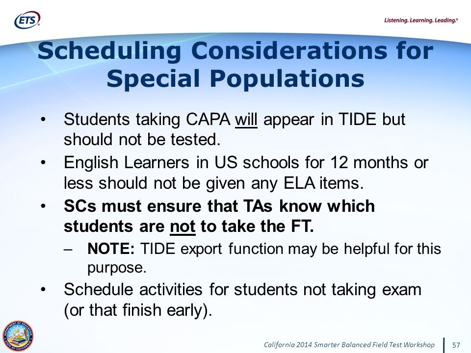 Scheduling Considerations for Special Populations