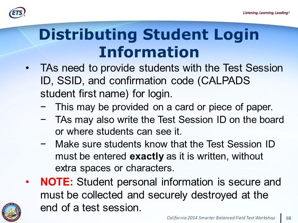 Distributing Student Login Information