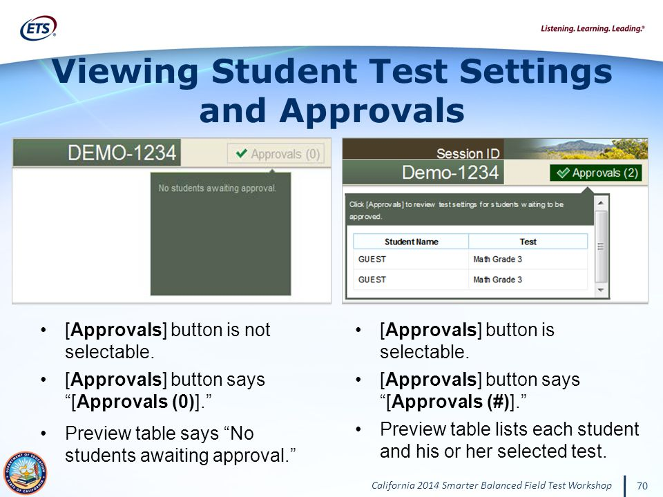 Viewing Student Test Settings
