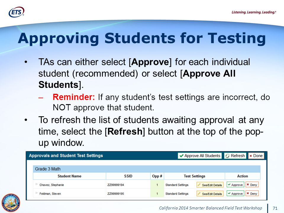 Approving Students for Testing