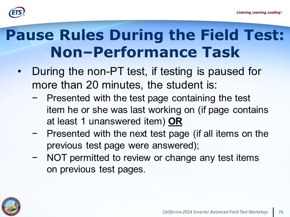 Pause Rules During the Field Test: Non–Performance Task