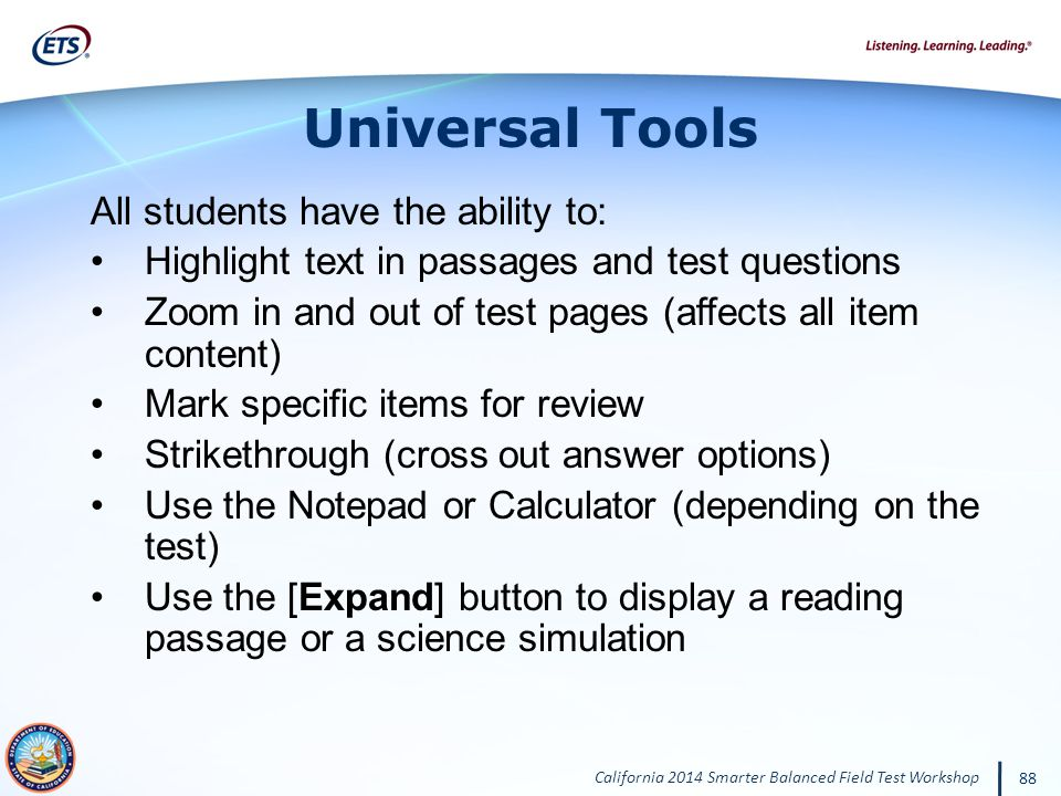 Universal Tools All students have the ability to: