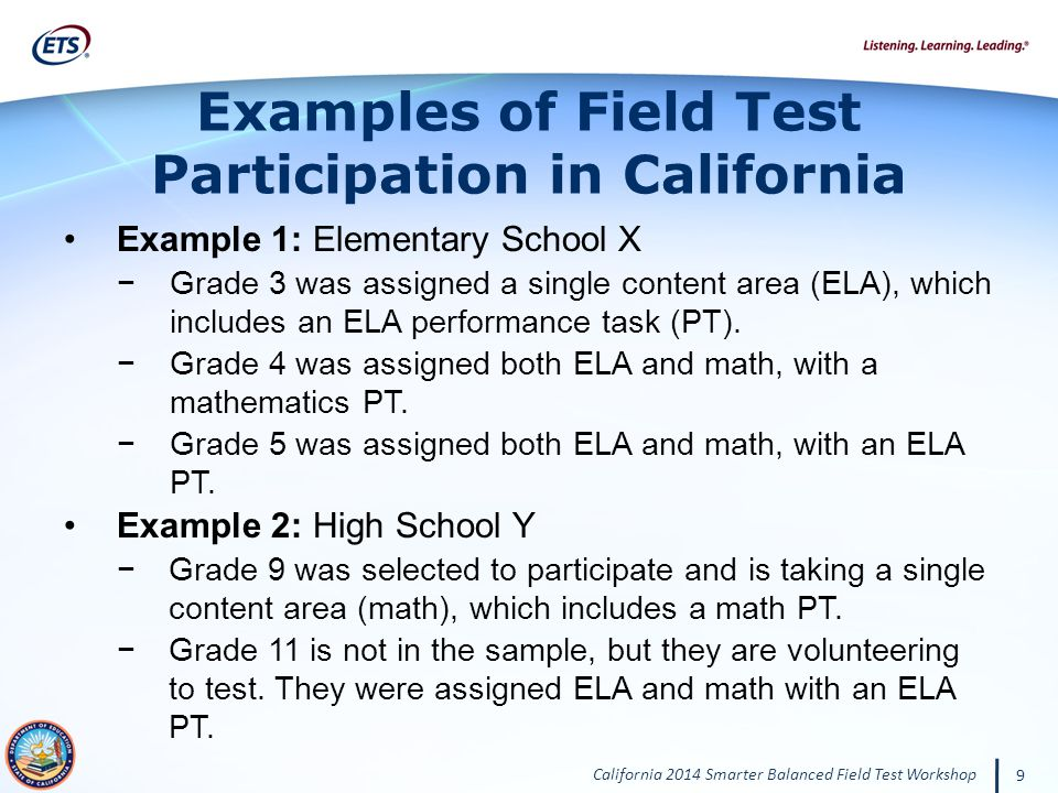 Examples of Field Test Participation in California