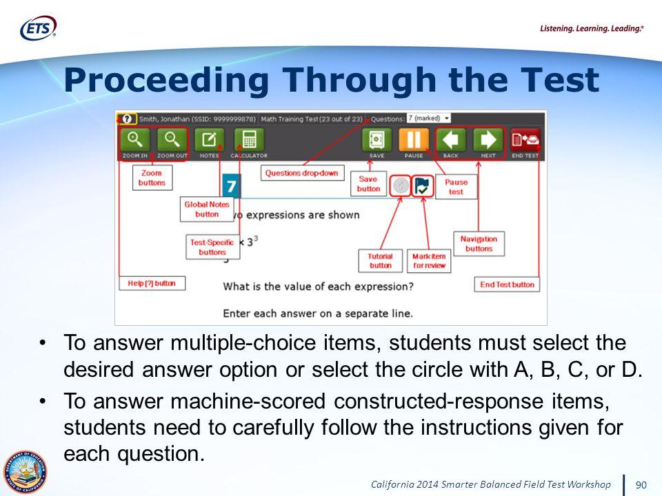 Proceeding Through the Test